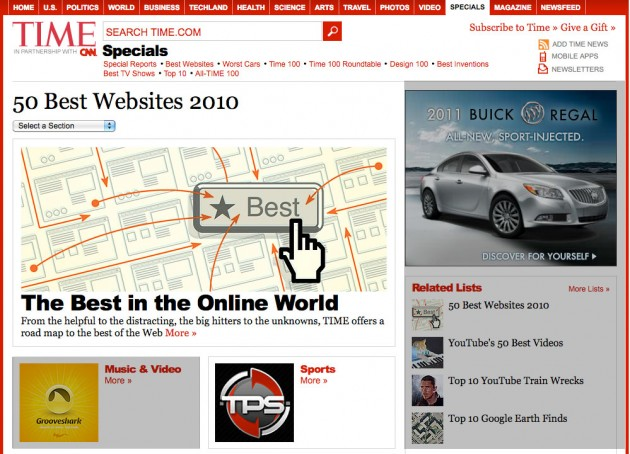 CNN's Time Magazine Top 50 Websites